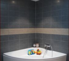 La baignoire sous le puis de lumière velux
