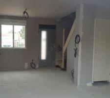 Pose Placo terminée /escalier / portes