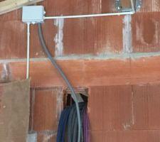 Zone du tableau électrique dans le garage. Début de réalisation de l installation électrique définitive dans le garage.