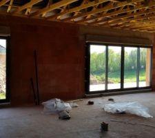 Baies vitrées, fenêtres, porte et porte de garage en cours d'installation