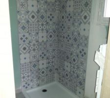 Faïence de la douche avec le receveur