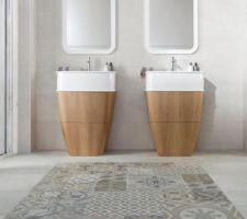 Salle de bain : Carrelage de la marque Porcelanosa, Série Dover, Antique et Caliza. Carrelage mat, rectifié et texturé, de dimensions 31,6cm par 59,2cm, classement U3 P3 E3 C2.