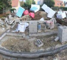 Élévation du vide sanitaire (2 rangs de parpaings à bancher)