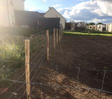 Pose de la clôture de type grillage à mouton (imposé par le règlement de lotissement)