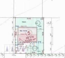 Plan terrain avec  implantation maison