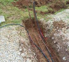 Création du seuil de portail (dimension 4.40m) avec ferrailles et câblage pour future motorisation
