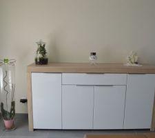 Notre salon/salle à manger avec enfin la peinture de faite et les nouveaux meubles !