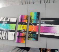Tableau artisanale étincelle de couleur