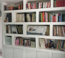 La bibliothèque du bureau. Réalisée par Monsieur en placo et portes de cuisine Ikea.