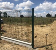 Pose de la clôture du terrain