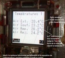 ... au bout du 5eme jour, le puits canadien commence à avoir raison de la surchauffe et de l'inertie de la villa