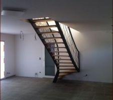 Le bel escalier fait par mon ferronnier.