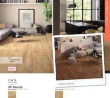 À gauche de l'image, notre choix pour notre rez de chaussé un carrelage imitation bois. Le rendu réel est top