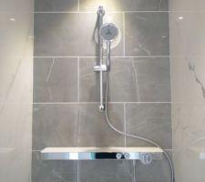 Un gros coup de c?ur pour cet effet marbre gris et blanc pour notre salle d'eau