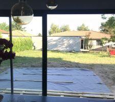 Terrasse provisoire en palettes et Caillebotis de 100 x 100 chez Leroy Merlin