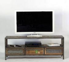 Meuble 150cm de long hauteur 55cm métal et bois recyclé