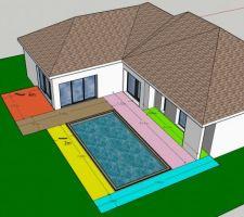 Dimensions de la terrasse suite à question. La piscine fait 7m x 3,5m