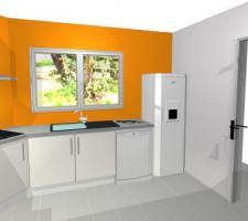 Projet de cuisine avec les nouvelles couleurs de murs (orange et gris)