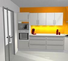 Projet de cuisine avec les nouvelles couleurs de murs (orange et gris): 2éme perspective.