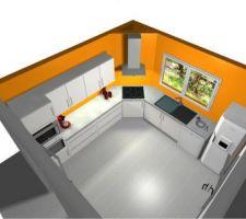 Projet de cuisine avec les nouvelles couleurs de murs (orange et gris): perspective générale