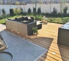 Nouveau salon de jardin en rotin gris