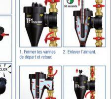 Installation normale filtre Fernox TF1