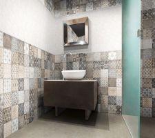 Carreaux salle de bains et salle d'eau (posés en petites touches et associés aux même carrelage que le sol)