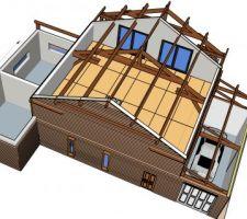 Vue nord ouest_ vue de l'étage et du garage_  charpente bloc milieu et garage visible