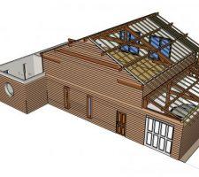 Vue nord ouest_ vue de l'étage et du garage_  charpente bloc milieu et garage visible avec chevrons