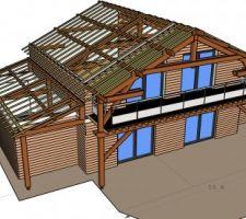 Vue sud ouest_ vue de l'étage et du garage + terrasse bois_  charpente bloc milieu et garage visible avec chevrons