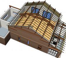 Vue nord ouest_ vue de l'étage et du garage + terrasse bois_  charpente bloc milieu et garage visible avec chevrons