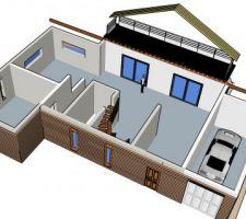 Vue nord ouest_ vue du RDC et du garage + pièces visibles: salon , cuisine ouverte sur le salon (sans porte) avec mini bar et cloison en guise de séparation. Salle de bain en bas à gauche. WC à côté de l'escalier quart de tour