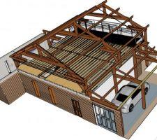 Vue nord ouest_ vue plancher étage + solives du plancher