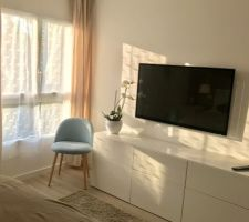 TV au mur dans la chambre