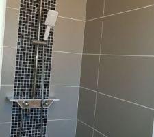 Nettoyage joints + pose de la colonne de douche - petite salle de douche