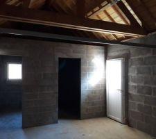 Vu intérieur du garage côté cave et atelier porte ds service Et porte basculante garage