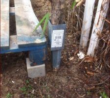 Abri bois : enfoncement des pieux