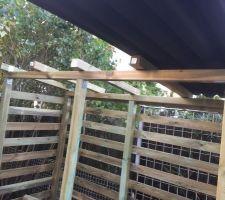 Abri bois : fixation support toiture