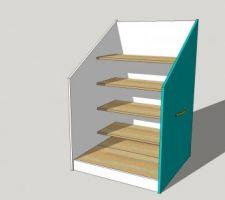Projet de meuble à chaussures sous escalier à roulettes