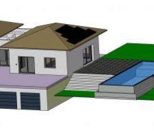 Ajout de la piscine,modification la pente du toit et intégration des panneaux solaire
