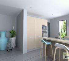 Plan 3D de la cuisine avec cloison tirés jusqu?au meuble