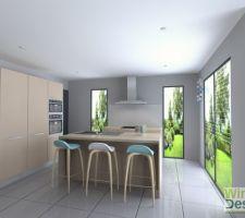 Plan 3D général de la cuisine  La cloison sera tiré jusqu?au meuble