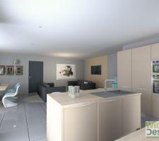 Plan 3D  Vu du fond de la cuisine