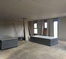 Plafond pièce de vie terminé  Préparation des murs extérieurs