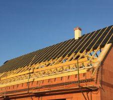 Nous avons opté pour un écran de sous toiture qui nous a été proposé par le charpentier permettant une meilleur isolation thermique et qui permet un renforcement de la toiture en cas d?intempérie etc...