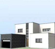 Maison à toiture plate - vue avant, orientation nord