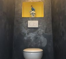 WC.....  !!!! Enduit industrie, niches et plafond jaune !