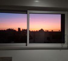 Une vu lors du levé du soleil de notre cuisine