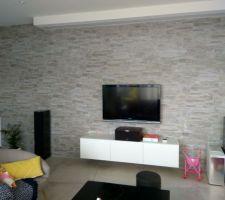 Parement Bretagne carrelage et meuble TV ikea