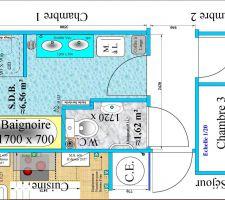 Le plan de la salle de bain soumis au constructeur et à l'électricien pour avis.